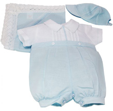 Karela Kids Linen Bubble Romper with Cap and Blanket Boy Blue-White