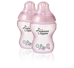 Tommee Tippee Decorated Baby Feeding Bottles with Slow Flow Nipples 2pk BPA Free