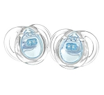 Tommee Tippee Closer to Nature Clear Shield Silicone Pacifier 2pk Boy 0-6m BPA Free