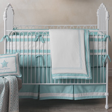 Lambs & Ivy Classic Aqua Bedding Crib Set 4-Pieces