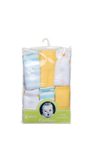 Gerber Unisex Baby 6 Pack Terry Washcloths, Elephants