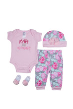 Baby Essentials Like Mommy  4- Piece Layette Set Pink