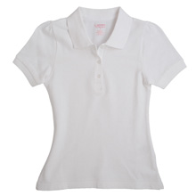 French Toast Girls Short Sleeve Stretch Pique Polo, White