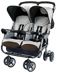 Peg Perego Aria Twin 60/40 Twin Stroller in Java