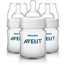 Philips AVENT Classic+ 4oz Baby Bottle Newborn Flow Nipple, 0m+ 3 Pack