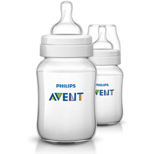 Philips AVENT Classic+ 9oz Baby Bottle, Slow Flow Nipple 1m+, 2 Pack