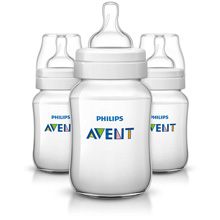 Philips AVENT Classic+ 9oz Baby Bottle, Slow Flow Nipple 1m+, 3 Pack