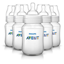 Philips AVENT Classic+ 9oz Baby Bottle, Slow Flow Nipple 1m+, 5 Pack