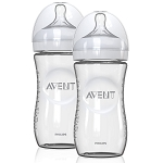 Philips Avent Natural Feeding Glass Bottle, 8oz - 2 Pack