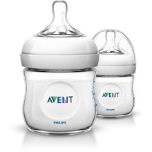 Philips AVENT 4oz Natural Baby Bottle Newborn Flow 0m+, 2 Pack