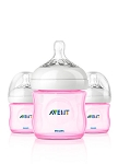 Phillips Avent Natural Bottle 3-Pack Pink 4oz