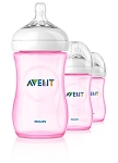 Phillips Avent Natural Bottle 3-Pack 9oz Pink