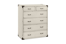 Franklin & Ben Providence Tall Dresser  Distressed White with Distressing Marks