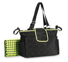 Carter's Fashion Tonal Dot Tote Diaper Bag, Black & Lime