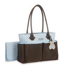 Little Me Teddy Bear Tote Diaper Bag, Blue