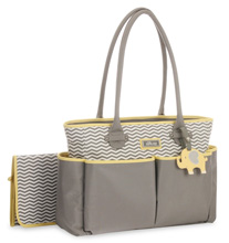 Little Me Elephant Tote Diaper Bag, Grey & Yellow