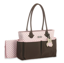 Little Me Teddy Bear Tote Diaper Bag, Pink