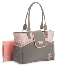 Little Me Damask Print Fashion Tote Diaper Bag, Grey & Pink