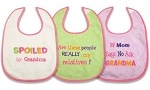 "Baby Essentials Feeder Bibs ""Spoiled by Grandma"" Pink"