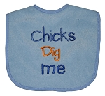 "Baby Essential Feeder Bib Boy ""Chicks Dig Me"" Blue"