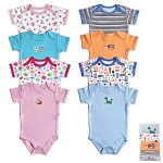 Luvable Friends Bright Bodysuits 9-12 Months, 4 Pack