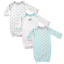 Baby Vision Elephant Print Gown 3-Pack Aqua