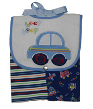 Baby Essentials Beep Beep Bib & Burpcloth