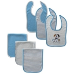 Hudson Baby 6 PC Bib and Burp Cloth Set-Boy