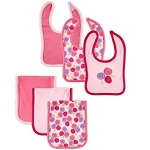 Hudson Baby 6 Piece Bib & Burp Cloth Set-Girl