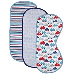 Hudson Baby Curved Waterproof 3-Pack Burp Cloth