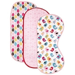 Luvable Friends Birds Curved 3-Pack Burp Cloth