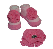 Baby Essentials Jewel Rose Headband & Socks Pink