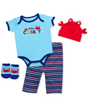 Baby Essentials Just a Little Crabby 4 Piece Layette Set