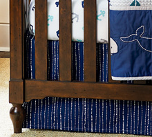 Wendy Bellissimo™ Mix & Match Dotted Stripe Crib Skirt in Navy