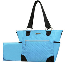 Wendy Bellissimo Quilted Tote Diaper Bag – Turquoise