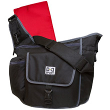 Diaper Dude Sport Flap Messenger Diaper Bag - Black