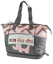 Tender Kisses 3 piece Quick Trip Diaper Tote, Pink