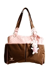 Absorba Multi Pocket Diaper Bag with Plush Toy, Pink & Brown