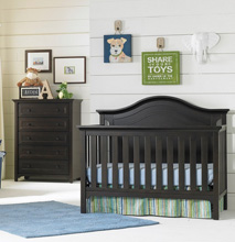 Ti Amo Catania Crib & 5 Drawer Chest, Espresso 2 PC Set