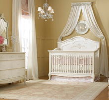 Dolce Babi Full Panel Angelina Crib, 5 Drawer Dresser and Double Dresser, French Vanilla