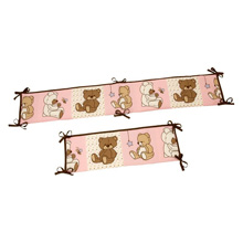 Little Bedding Dreamland Teddy Crib Bumper, Pink