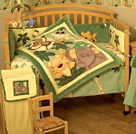 Crown Crafts Jungle Babies 8 PC Bedding Set