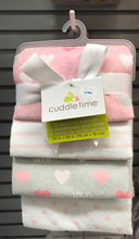 Cuddle Time Heart Love Receiving Blanket 4-Pack Girl