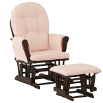 Storkcraft Hoop Glider & Ottoman in Espresso and Pink