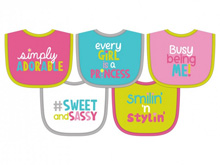 Hamco Terry Attitude Knit Bib Set Girl  5-Pack