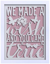 C.R.Gibson Laser-Cut Frame - We Made A Wish - Girl