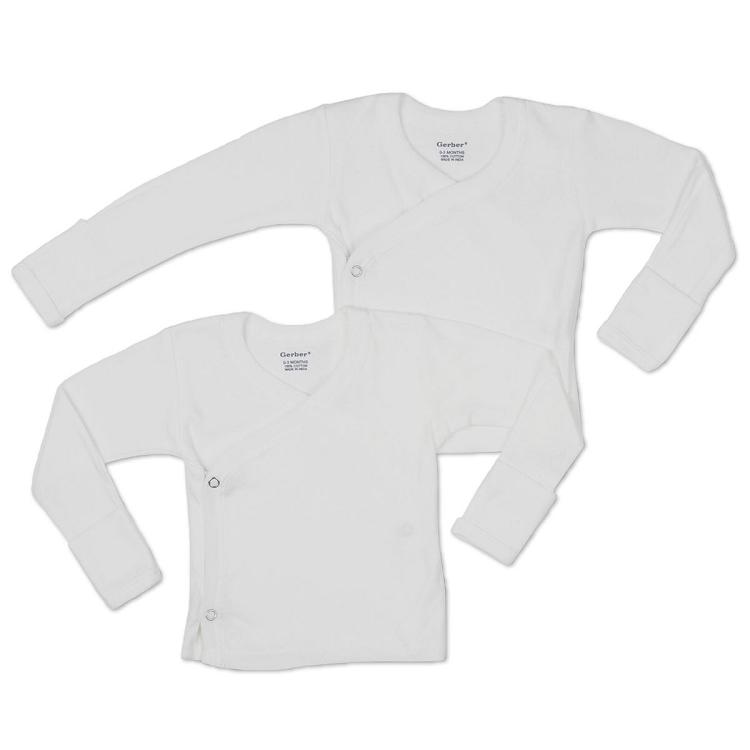 Gerber Long Sleeve Side Snap Shirt 0 3 Months 2 Pack