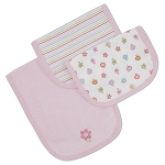 Gerber Terry Cotton Burp Cloths - Girl - 3 Pack