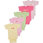 Gerber Short Sleeve Onesies® One Piece Underwear - Girls 6-9 Months - 5 Pack
