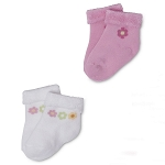 Gerber Baby Terry Socks - Girls 0-3 Months - 2 Pack